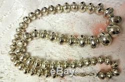 Early Navajo Pearls Native American Sterling Silver STAMPED Bead Necklace 24L
