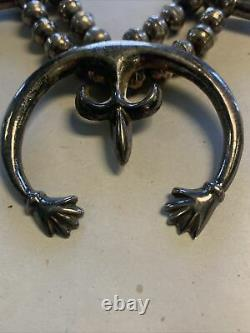 Early Navajo Sterling Sand Cast Naja Squash Blossom Necklace Old Pawn