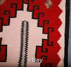 Early Navajo rug, blanket Native American textile, weaving unusual unique large
