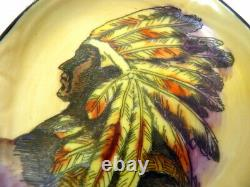 Early Noritake Nippon Moriage Hand Painted Native American Indian Chief Ashtray
