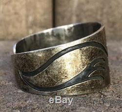 Early Old Hopi Sterling Silver Overlay Tribal Design Wide Cuff Bracelet