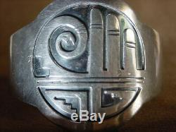 Early Old Pawn Museum Classic Hopi Native American Sterling Silver Cuff Bracelet