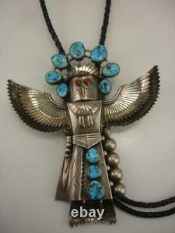 Early Pawn Large Sterling Silver Turquoise Coral Eagle Kachina Bolo Tie Navajo