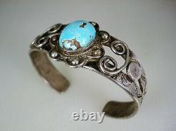 Early Pueblo / Navajo Handwrought Ingot Silver & Hi-dome Turquoise Bracelet