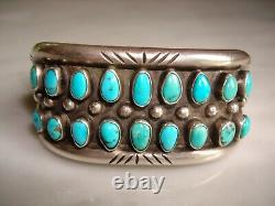 Early Pueblo Navajo Petit Point Heavy Silver Row Cuff Bracelet