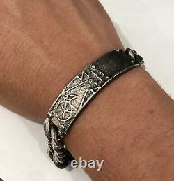 Early Rare Navajo Carl & Irene Clark Sterling Silver Tufa Cast Native Bracelet