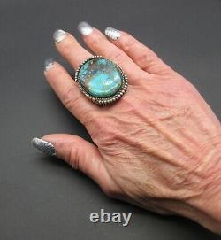 Early/Rare/VTG. KIRK SMITH-Masculine Pilot Mountain Turquoise-925 Ring-SZ. 11-3/4