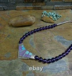 Early Ray Tracey Knifewing Navajo Turquoise Amythest Sterling Bib Colar Necklace