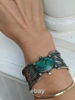 Early Signed Navajo Ingot Silver Turquoise Stampwork Cuff Bracelet Old Native