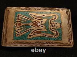 Early Signed Tommy Singer Sterling Turquoise & Coral Chip Inlay Belt Buckle