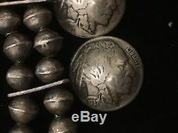 Early Silver Native American Squash Blossom Possibly Pawn Buffalo Nickels