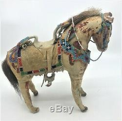 Early Sioux Native American Toy Handmade beaded Pony Horse Female Rider Doll