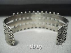 Early Snake Eyes Turquoise Vintage Zuni Sterling Silver Bracelet