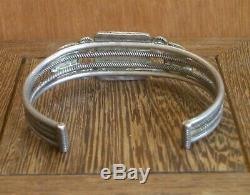 Early Southwest Indian Silver Spiderweb Turquoise Bracelet navajo ingot pawn Old