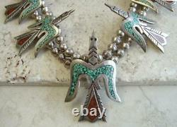 Early TOMMY SINGER Navajo Classic 30 PEYOTE BIRD SQUASH BLOSSOM Necklace 231g
