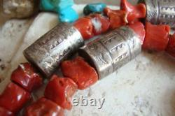 Early TONY AGUILAR Sr. KEWA Necklace STERLING/COIN SILVER-TURQUOISE-CORAL Signed