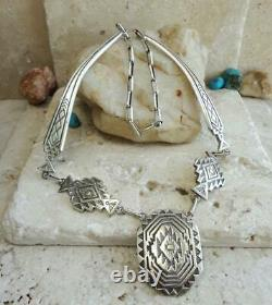 Early TROY LANER Navajo Dine Sterling Silver ZIA SUN Stamped Necklace