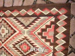 Early Teec Nos Pos Navajo Rug Native American Weaving Natural Brown Red Mesa