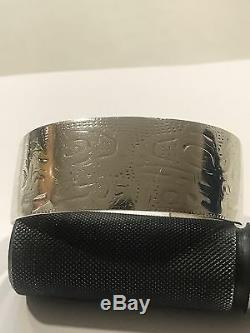 Early Tlingit Silver Cuff Bracelet 1890's to 1910 Alaska Eagle-Raven Primitive