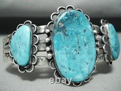 Early Top Shelf Vintage Navajo Turquoise Sterling Silver Bracelet