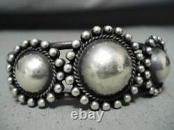 Early Triple Button Vintage Navajo 3 Sterling Silver Domes Bracelet