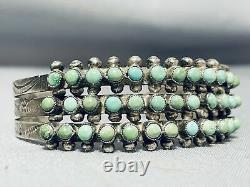 Early Vintage 1930's/40's Navajo Cerrillos Turquoise Sterling Silver Bracelet