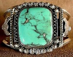Early Vintage Museum Quality Navajo Sterling Silver Bisbee Turquoise Bracelet