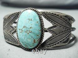 Early Vintage Navajo #8 Turquoise Sterling Silver Flank Bracelet