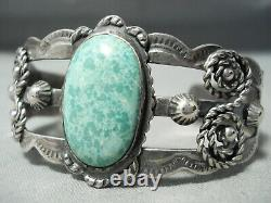 Early Vintage Navajo Carico Lake Turquoise Sterling Silver Bracelet Old