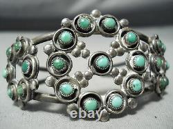 Early Vintage Navajo Cerrillos Snake Eyes Turquoise Sterling Silver Bracelet Old