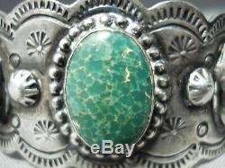 Early Vintage Navajo Cerrillos Turquoise Sterling Silver Hand Tooled Bracelet