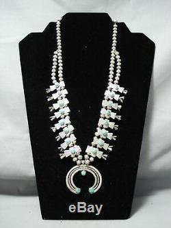 Early Vintage Navajo Cerrillos Turquoise Sterling Silver Squash Blossom Necklace