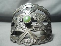 Early Vintage Navajo Crossed Arrows Sterling Silver Turquoise Bracelet Old