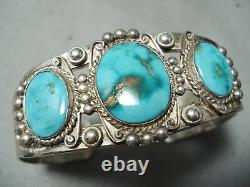 Early Vintage Navajo High Grade Carico Lake Turquoise Sterling Silver Bracelet