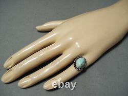 Early Vintage Navajo Light Blue Turquoise Sterling Silver Ring
