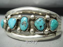 Early Vintage Navajo Morenci Turquoise Sterling Silver Bracelet Old
