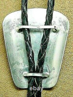 Early Vintage Navajo Native American Sterling Silver Natural Turquoise Bolo Tie