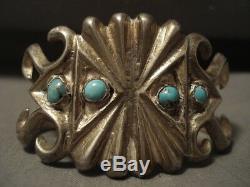 Early Vintage Navajo Natural Bisbee Turquoise Silver Bracelet