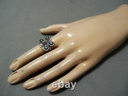 Early Vintage Navajo Snake Eyes Turquoise Coral Sterling Silver Butterfly Ring
