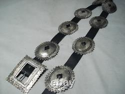 Early Vintage Navajo Sterling Silver Coin Concho Belt
