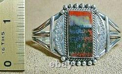 Early Vintage Navajo Sterling Silver Large Dramatic Petrified Wood Cuff Bracelet