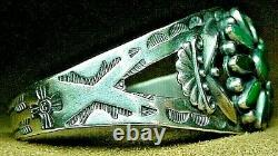 Early Vintage Navajo Sterling Silver Petit Point Turquoise Stamped Cuff Bracelet