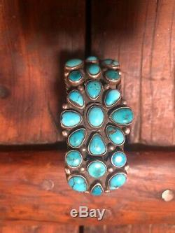 Early Vintage Navajo Sterling Silver Turquoise Cluster Bracelet-Ca. 1930s 66.2 G