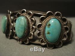 Early Vintage Navajo Turquoise Flower Silver Bracelet Old