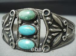 Early Vintage Navajo Turquoise Repoussed Sterling Silver Bracelet