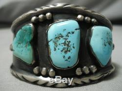 Early Vintage Navajo Turquoise Sterling Silver Native American Bracelet