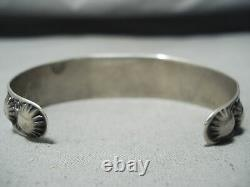 Early Vintage Navajo Very Old Green Turquoise Sterling Silver Bracelet