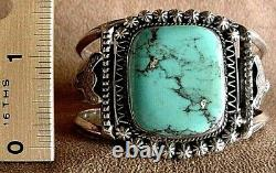 Early Vintage Old Pawn Navajo Sterling Silver Large Bisbee Turquoise Bracelet