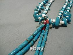 Early Vintage Santo Domingo Navajo Vintage Turquoise Jacla Necklace Old