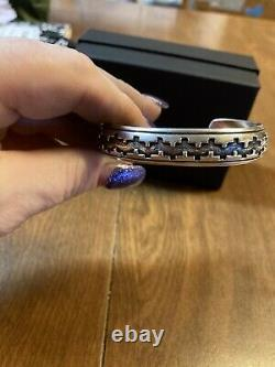 Early Vintage Tommy Singer Navajo 925 SS Overlay Design Cuff Bracelet